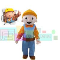 trajes de caráter de alta qualidade venda por atacado-Alta Qualidade Bob The Builder Traje Da Mascote Do Traje Do Traje Dos Desenhos Animados Traje Frete Grátis