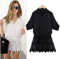 Wholesale Blouse Black Skirt - *summer women blouses loose lace Batwing Sleeve stitching lace Crochet skirt Solid white shirt blouse women