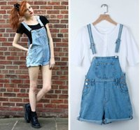 Wholesale-2015 Sommer-Art- und Boyfriend-Light Blue Denim Bib kurze Hosen Insgesamt Big Pocket-Jumpsuits Straps Frauen-Jeans-Spielanzug