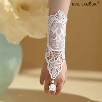 Wholesale Lace Pearl Bracelets - Elegant Ivory Long Pearl Hollow Lace Bridal Gloves Hand Catenary Fingerless Korean Wedding Bracelet