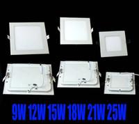Wholesale Led Panel 12w Free Shipping - dhl FREE SHIPPING High powerLed Panel Light SMD 2835 9W 12W 15W 18W 21W 25W 2200LM 110-240V Led Ceiling Bulb LED lamp spotlight downlight