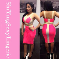 Wholesale Women Skinny Toned - Fashion Colorblock White Blue Two-tone Bodycon Two-piece Skirt 2015 Women Summer Sexy Clubwear Crop Top and Skirt Set