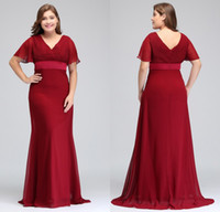 Wholesale red dress ruffle v neck online - 2018 New Cheap Dark Red Plus Size Occasion Dresses with Short Sleeves V Neck Pleats Chiffon Formal Evening Prom Gowns CPS715