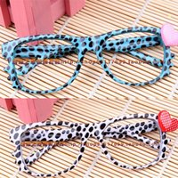 Wholesale Leopard Print Spectacle Frames - Wholesale-2Pcs Childs fashion accessory K T eyewear frame dot print cute baby frame Leopard spectacle frame candy color heart frame