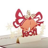 regalo de amante gratis al por mayor-100 UNIDS Campana de Navidad 3D de corte por láser de papel hecho a mano postales hechas a mano tarjetas de felicitación de encargo regalos para el partido del amante envío gratis