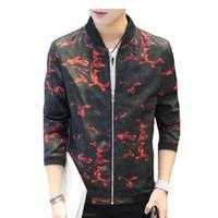 Wholesale Men Leader Jacket - Mans Jackets New 2018 Large Size Zipper Style Jacket Autumn Winter Fashion Leader Man Threaded Cuffs Camouflage Jacket Patchwork Collar