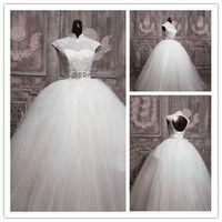 balo elbisesi kabarcık elbiseleri toptan satış-Yeni Zarif Balo Kabarcık Lace Up Gelinlik Kapaklı Kollu Gelin Vestidos De-Novia W1331 Uzun Hollow Kristal Kanat Gerçek Görüntü