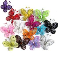 Wholesale Embellishments Bows - Wholesale-10PCS Organza Wire Rhinestone Butterfly   WIRED MESH BUTTERFLY - EMBELLISHMENTS GLITTER CRAFT BOWS WITH RHINESTONES
