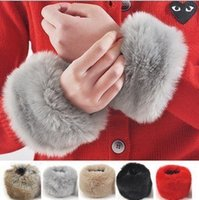 Wholesale Imitation Rabbit Fur - Wholesale-2015 The new imitation rabbit fur cuff bracelet wristband gloves warm winter fur wrist free shipping ST6004