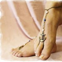 kadın ayak bileği için seksi takı toptan satış-Seksi Kadınlar Bronz Çapa Charm Halhal Ayak Bileği Toe Ring Sandal Zincir Plaj Takı