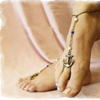 Sexy Women Bronze Anchor Charm Anklet Ankle Toe Ring Sandal Chain Bijoux de plage