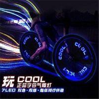 Wholesale Neon Lights Wheels - 9 patterns 7leds Bike Bicycle car Motorcycle tire Spoke Wheel Valve LED Flash alarm Light Neon