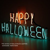 Al por mayor- Placa de luz de señal de neón Happy Halloween Word Design Night Lamp Luz de pared para Halloween Bar Mural Crafts Room Home Decorations