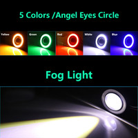 Wholesale Car Lights Eye - 2pcs Newest Universal LED Fog Light Lamps Car Daytime Running Lights DRL White Blue RGB COB Angel Eyes Fog lights Car-styling free shipping
