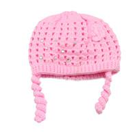 tığ bebeği bonnetleri toptan satış-Yenidoğan Bebek Yürüyor Kreş Sonbahar Kış Sıcak Kalın Bonnet Tığ Örme Kap Bebek Kız Erkek Çocuk Bebek Karikatür Bere Şapka