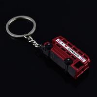 Wholesale Union Jack Keychain - Red London Bus With Union Jack Flag Novelty Keyring Keychain - UK i love london Key Chain Ring Holder Travel Souvenirs