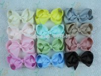 Wholesale Holiday Hairbows - 12pcs baby girl 3 inch solid hair bows clips Boutique grosgrain ribbon holiday bows hairbows kids girl 1397