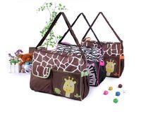 bebek bez çantası tasarımları toptan satış-3 Tasarım hayvan bezi çanta mumya çanta bez çanta zebra veya zürafa babyboom çok fonksiyonlu moda bebek Bebek makaleleri saklama torbaları B