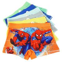 Wholesale character panties - Children's Underwear Cotton Baby Boxers Spiderman Boys Underwear Panties Briefs Size:3-12years Color random