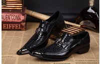Wholesale Sexy Wedding Dresses Men - Arrival Black Snake Skin Genuine Leather Handmade Metal Tip Spikes Pointed Toe Slip On Formal Dress Shoes Sexy Fashion Mans