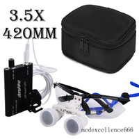 Productos dentales Hotsale 3.5X420mm! Negro color Dental Medical Lupa Binocular Lupa de vidrio óptico + lámpara de luz LED principal + bolsa protectora