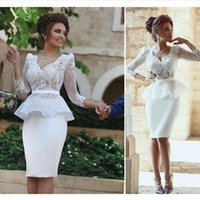 Wholesale Long Sleeved Homecoming Dresses - Elegant White Lace Cocktail Dresses Knee Length Cocktail Dress 2016 Long Sleeved Cheap Homecoming Party Dresses
