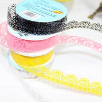 Wholesale Lace Lovely Adhesive Sticker - 1Set 5pcs Free Shipping Lovely hollow out fine transparent DIY stickers Wholesale lace tape,Adhesive Tape A2494