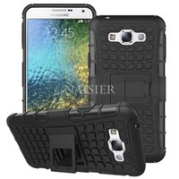 Wholesale E7 Mobile Phone - Kickstand Shockproof Function 2-in-1 Hybrid TPU+PC Hard Armor Cover Mobile Phone Case For Samsung Galaxy E7