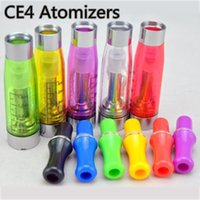 Wholesale Mini Ce4 Clearomizer Atomizer - Grade AAA mini ego ce4 clearomizer with long wick clear vapor e shisha atomizer tank 1.6ml no leak or burn taste ego ce4 cartomizer 7 colors