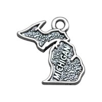 Wholesale Wholesale Michigan - Zinc Alloy Antique Silver Plated Michigan jewelry making charms
