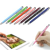 Atacado-Novo Hot 2-in-1 Mini metal Capacitive Touch Screen Stylus Caneta Esferográfica para o telefone LY495 Tablet Laptop