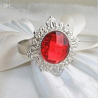 Hot 100pc Red Diamante Gem Servilleta Anillos Servilleta titular de la boda banquete cena favor de la decoración de mesa favor