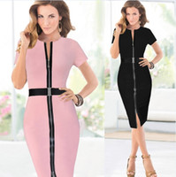 Wholesale Short Sleeve Check - 2015 New Womens Belted Check Front Zipper Slit Tunic Wear To Work Business Casual Party Pencil Bodycon Sheath Dress DK4451XL