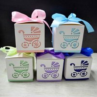 Wholesale Blue Favour Box - 200pcs lot Square Baby Shower Party Favour Gift Chocolate Candy Boxes In Laser Cut Baby Carriage Design Colors For Baby Girl And Boy