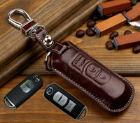uzaktan mazda için durum toptan satış-Mazda 3 5 Için deri Anahtar Kapak 6 cx-5 CX-CX-9 CX5 ATENZA Axela uzaktan araba anahtar tutucu kılıf cüzdan anahtarlık yüzükler aksesuarları