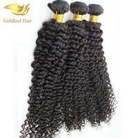 malezya kıvırcık saç ürünleri toptan satış-Goldleaf Saç Ürünleri Perulu Bakire Saç Derin Kıvırcık 3 Demetleri Kıvırcık Doğal Virgin İnsan Saç Dokuma Brezilyalı Malezya Derin Kıvırcık