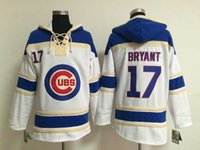 Wholesale Mens Sweaters Baseball - Cubs #17 Kris Bryant Baseball Hoodies New Style Chicago Lace Up Pullover Hooded Sweatshirt Highest Quality Baseball Sweater Mens Uniforms