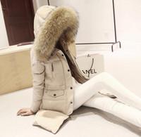 Wholesale Xxl Big Fur Collar Coat - Winter fur coats for women2015 Korean style big raccoon fur collar long thickening down jacket Women coat plush size S-XXL