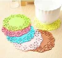 Wholesale Silicon Lace Mat - NEW Colored Lace Cup Mat Silicon Round Coaster Zakka Tea Placement accessories for table pad Kitchen Novelty households