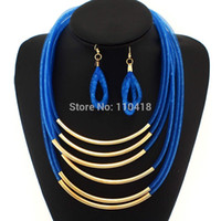 Wholesale Necklace Earrings Neon - 2015 5 Layer Neon Net Chains Necklaces Earring Sets Big Fashion Jewelry Set Cross Bright Metal Pipe 5 Colors Statement #1927