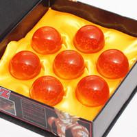 dragonball z yıldız seti toptan satış-Animasyon DragonBall 7 Yıldız Kristal Top 4.5 cm Kutuda Yeni Dragon Ball Z Komple seti oyuncaklar 7 adet / takım