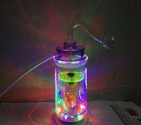 13cm cam boru toptan satış-Sigara aksesuarları ile Akrilik Sigara borular lamba cam filtre pot ve su boruları lastik tüp DIM 5CM YÜKSEK 13CM renkli led çakmak ile