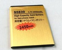 Wholesale High Capacity Battery Galaxy Ace - Excellent Quality High Capacity 2450mah Gold replacement Battery for Samsung Galaxy Ace S5830 for samsung S5830 only US epacket Free Shippin