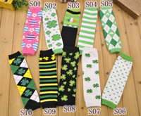 Wholesale Wholesale Argyle Socks - UPS Free Ship Lowest Price 2016 ST Patricks Day Leg Warmers Argyle Clover Leg Warmer Green White Striped leg warmers Lucky clover socks