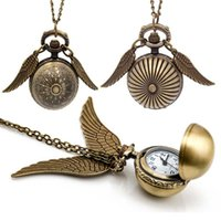 Harry Golden Snitch Pocket Watch Antique Bronze Wing Ball Pingente Colar Pingentes Potter Moda Jóias Fãs Gift Drop Shipping