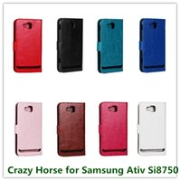 Wholesale Ativ S Leather - 1PCS Luxury Black Smooth Pull Up Crazy Horse Pattern Leather Flip Cover Case for Samsung Ativ S i8750 Cellphone Bags Free
