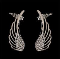 Wholesale Punk Style Earring Cuff - Personality Punk Style Angle Wings Ear Clips Gold & Silver Plated Crystal Rhinestone Stud Earrings Fashion Ear Cuff Fine Jewelry K618