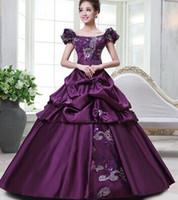 Wholesale Gothic Renaissance Dresses - 100%real purple golden floral Medieval Renaissance Gown queen Dress Victorian Gothic Marie Antoinette civil war Colonial Belle Ball