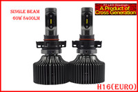 1 Set H16 (Euro 5202 60W 8400LM P7 LED Auto Farol Kit Sistema Fanless ALL IN ONE Coreia do CSP LED 12 / 24V Xenon Branco 6000K Condução de Alta Potência