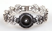 Wholesale Grey Flowers Diy - New arrival 2cm metal snap button charm noosa Bracelet flower with grey cz stone DIY adjust bracelet